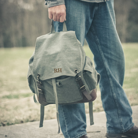 Mariage - Personalized Rucksack Groomsmen Gift Military Issue Vintage Style Ruck Sack Travel Duffel Bag Canvas Groomsman Gifts~back to school,backpack