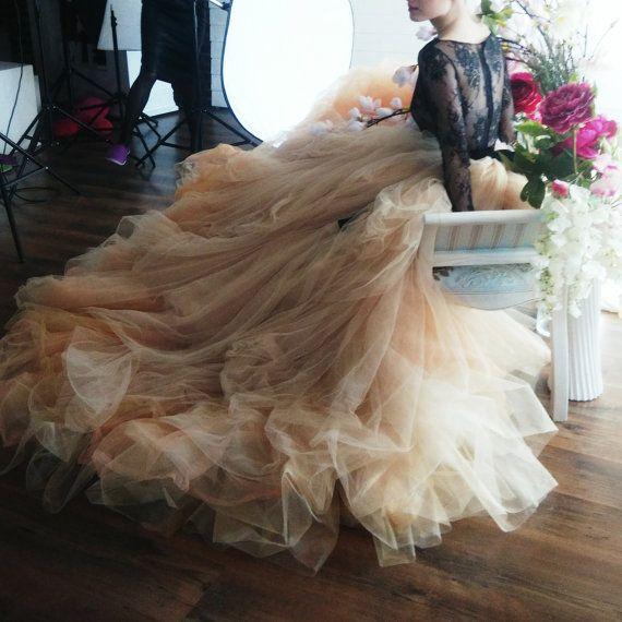 زفاف - Nude Tulle Wedding Skirt // Peony