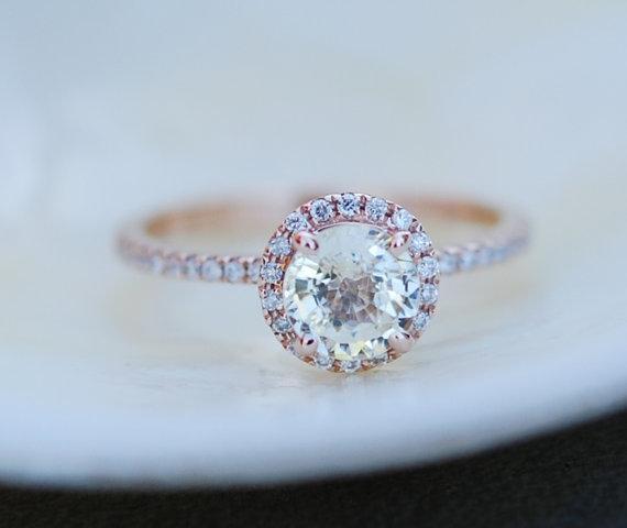 Ring 1ct unheated sapphire halo diamond ring 14k rose gold engagement
