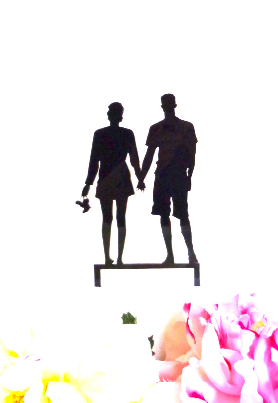 Hochzeit - SURFER BEACH COUPLE Silhouette Wedding Cake Topper Surfer Wedding Cake Topper Tropical Wedding Cake Topper