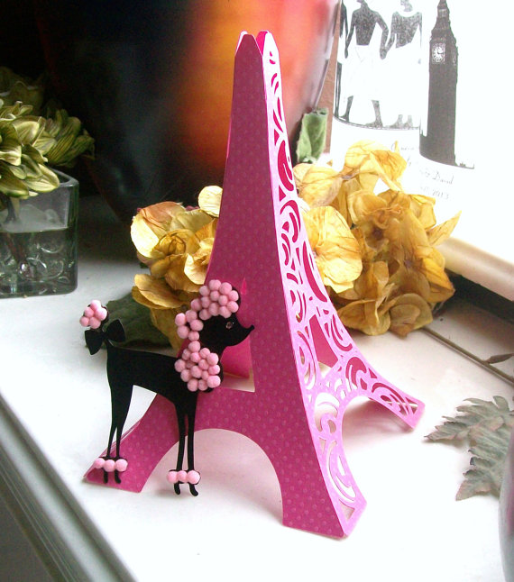Hochzeit - 3D Eiffel Tower Table Centerpiece - Cake Topper - Bright Pink Tower with Poodle Accent - Decoration - Shower - Birthday FULLY ASSEMBLED