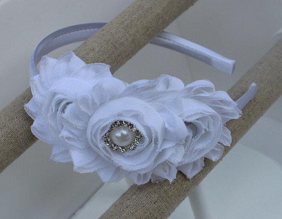 Hochzeit - white headband white flower girl headband white wedding headband plastic satin headband toddler headband flower girl outfit girls headband