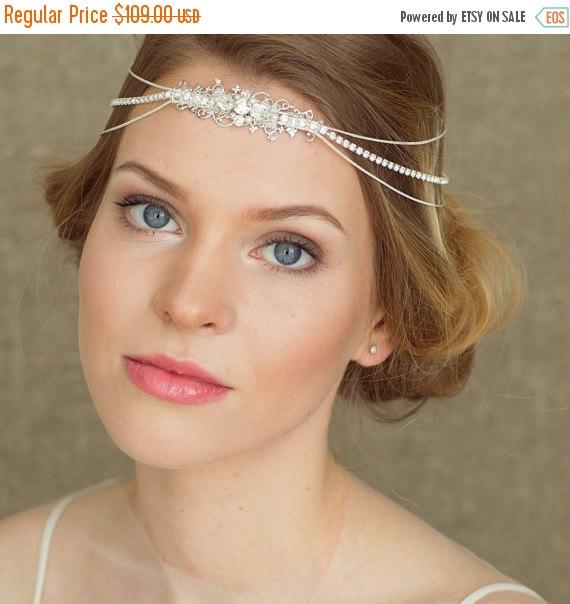 Hochzeit - Bridal headpiece, Bridal headband, Bridal Halo, Wedding Halo, Bridal hair chain, Bohemian Hair piece, Pearl, Bridal Headband,