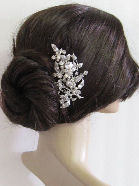 Wedding - Large crystal hair comb,bridal hair comb, wedding brooch comb, bridal headpiece, bridal hair accessories, wedding pearl hair comb