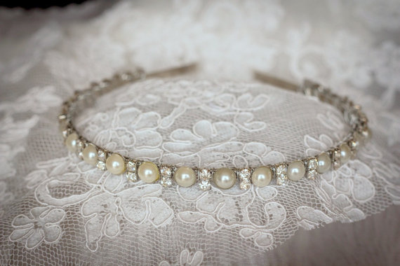 Hochzeit - Bridal Headband  Rhinestones and Pearls  Elegant Wedding Headband-Bridesmaid Headband- Flower Girl Headband