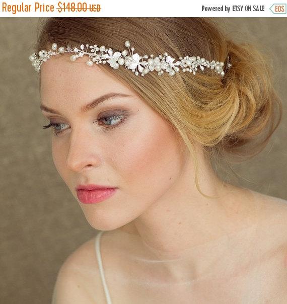 Hochzeit - Pearl halo Bridal Halo Wedding Headband  Bridal headband  Pearl Wedding Hair Accessories Pearl Hair Vine Bohemian Wedding halo Boho band