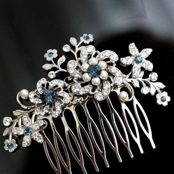 Hochzeit - Wedding Hair Comb Blue Wedding Hair Accessories Something Blue Pearl Rhinestone Flowers   SABINE Choose your Blue