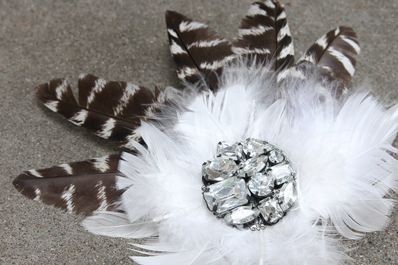 Mariage - Black and White Feather Bridal Fascinator with Vintage Blingy Brooch
