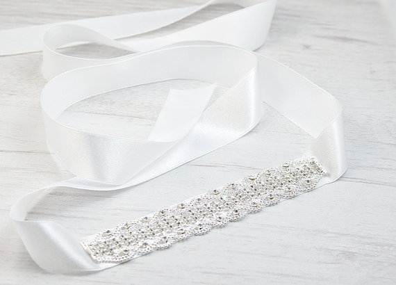 Hochzeit - Wedding headband ribbon. Crystals headband ribbon. Bridal hair accessories. Wedding hair piece. Bride to be headband. Bridal jewelry