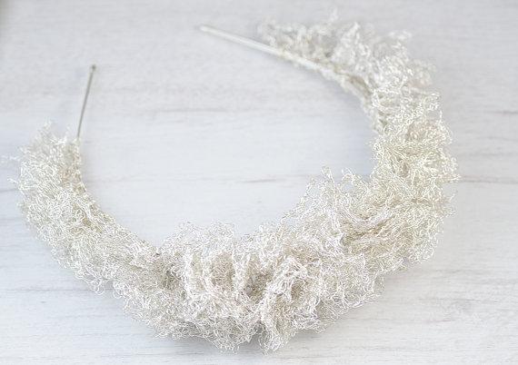 Свадьба - Handmade bridal tiara. Silver shining bridal headband. Unique crocheted wedding headband. Bridal hairpiece. Bridal jewelry. Bridal party.