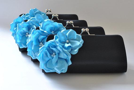 Hochzeit - Set of 4  Bridesmaid clutches / Wedding clutches - Custom Color