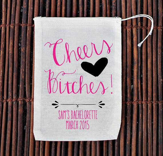 Свадьба - CUSTOM listing for GINA  -Cheers Bitches Bachelorette Hen Party Favor Bag- Muslin Cotton Mini Favor Bags