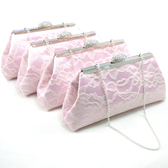 Hochzeit - Light Pink and Ivory Bridesmaid Gift, SALE! 5% OFF Set of Four Bridesmaid Clutches, Mother Of The Bride Gift, Bridal Clutch, Wedding Clutch