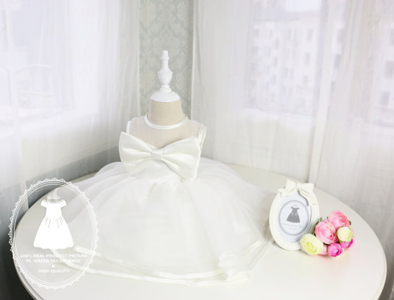 Wedding - Flower Girl Dress with Front Bow,Birthday Dress for Girls, Baptism Dress, Christening Dress,PD045-1