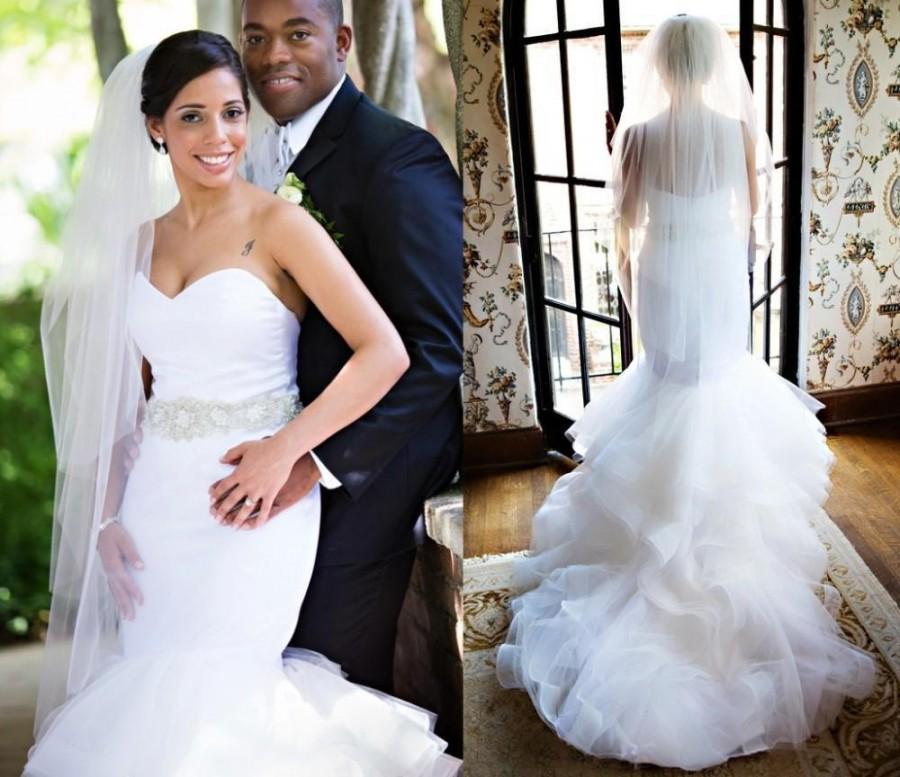 Amzing Sweetheart Ruffled Mermaid Wedding Dresses 2015 Chapel Train