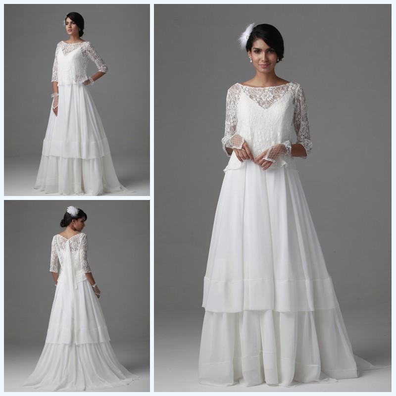 Elegant a line bateau wedding dresses with lace jacket for Wedding dress long sleeve lace jacket