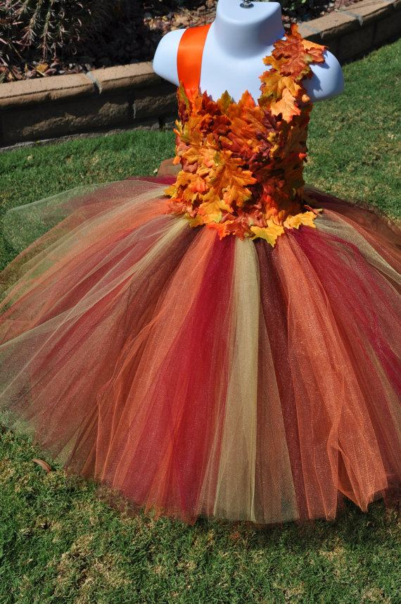 Fall Inspired Flower Girl Dress, Leaf Flower Girl Dress, Toddler ...