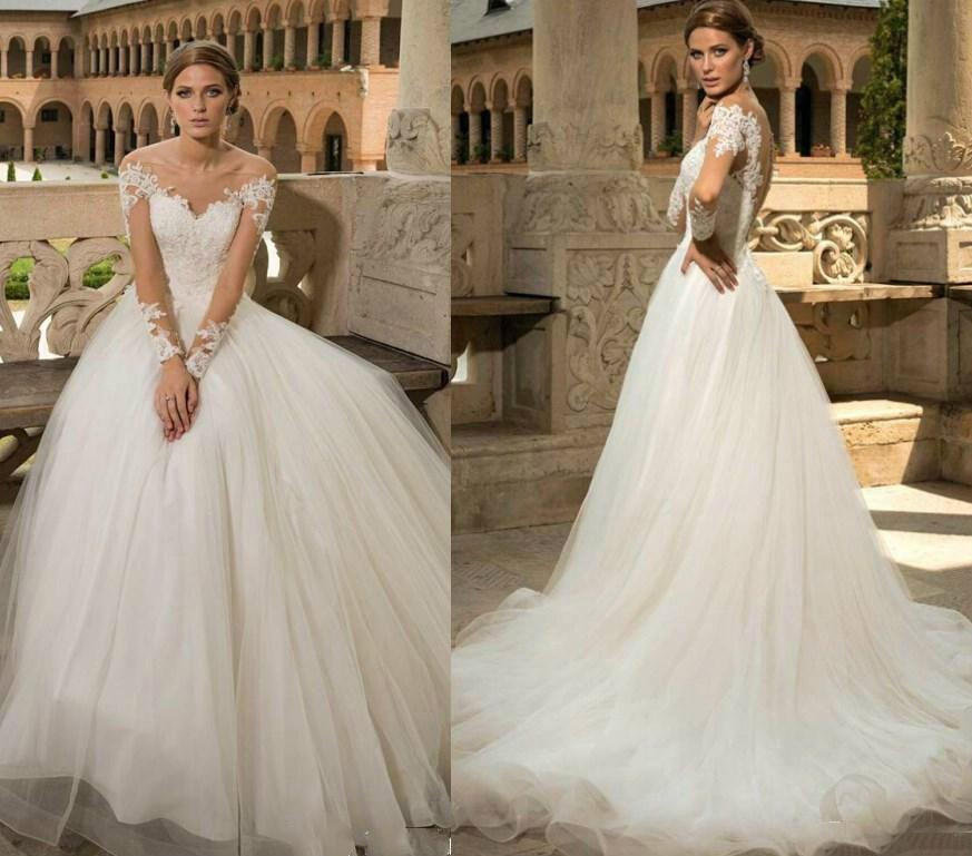 Wedding - Charming Long Sleeves 2015 Wedding Dresses Lace Applique Bridal Gowns Illusion Bateau Neck Covered Button A-Line Tulle Wedding Ball Online with $124.61/Piece on Hjklp88's Store