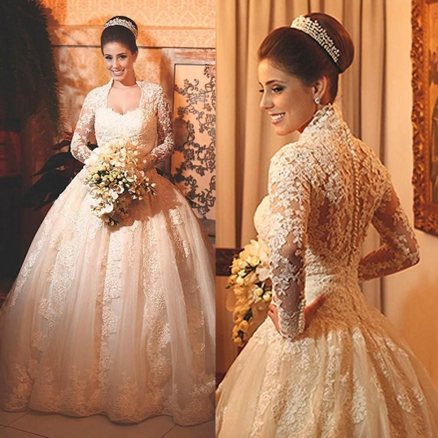 Vintage Lace Wedding Dresses With Long Sleeves 2015 Applique Beads ...