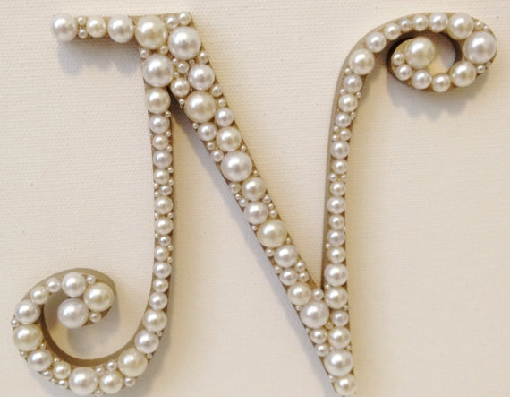 Pearl Letter Wedding Cake Toppers