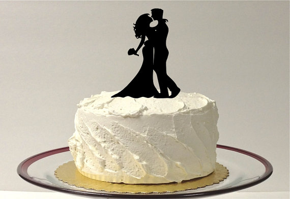 Hochzeit - Silhouette Wedding Cake Topper Hair Down Style Cake Topper Bride and Groom Silhouette Wedding Cake Topper Bride and Groom Cake Topper