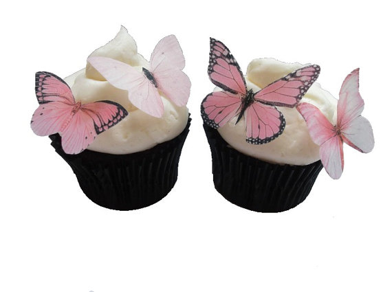 Свадьба - EDIBLE BUTTERFLIES CUPCAKE Toppers - 24 Light Pink Edible Butterflies - Blush Pink Cake Decorations