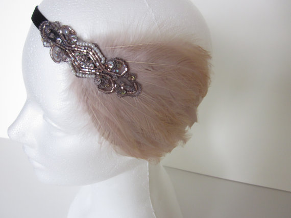 Great gatsby dress gatsby feather headband bandeau annee 20 gatsby headband wedding - Bandeau annee 20 ...