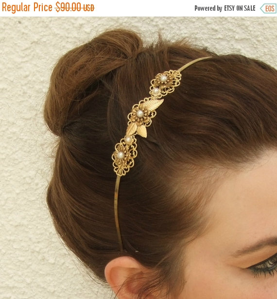 Mariage - ON SALE Bridal Headband, Wedding Headband, Romantic Headband,Leaf Crown, Twig Hair Wreath, Pearls Halo, Greece Goddess