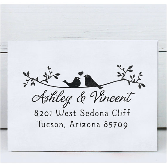 Mariage - Custom Rubber Stamp - Self Inking Address Stamp - Wedding Stamp Twigs Two Birds in Love