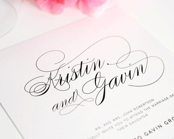 Mariage - Wedding Invitation, Elegant Wedding Invitation, Simple, Large Names, Wedding Invites - Script Elegance Design - Deposit to Get Started