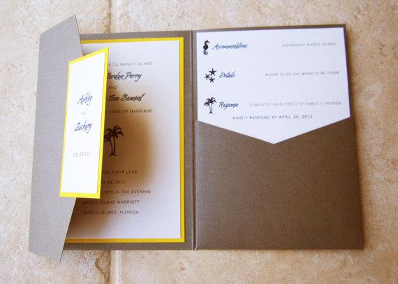Mariage - Ashley and Zachary Destination Wedding Pocket Invitation - Sample