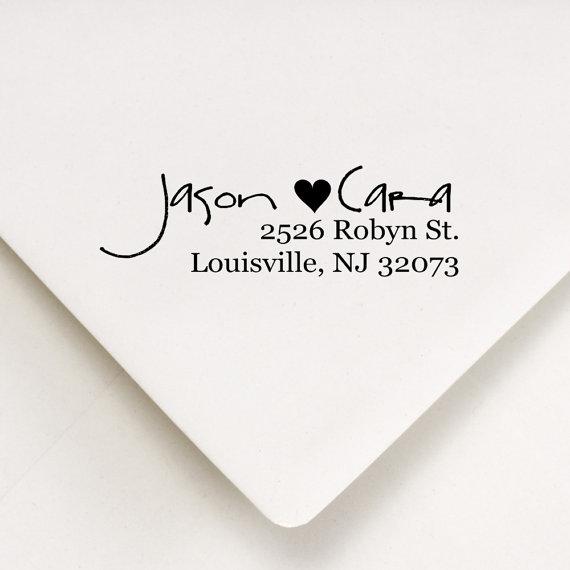 Mariage - Custom Return Address Stamp -  - Housewarming, Wedding, Bridal Shower Gift - Jason Hearts Cara Design