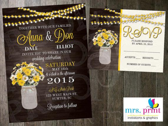 Mariage - Yellow Daisies Wedding Invitation & RSVP Card