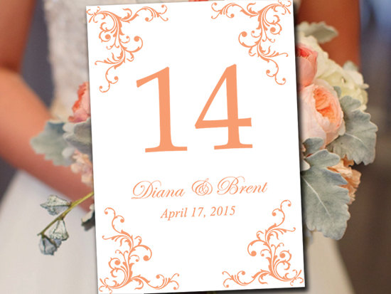 "Wedding - Wedding Table Number Template - Fuzzy Peach Table Number - Wedding ""Diana"" Printable Table Card - Instant Download Table Number Card"