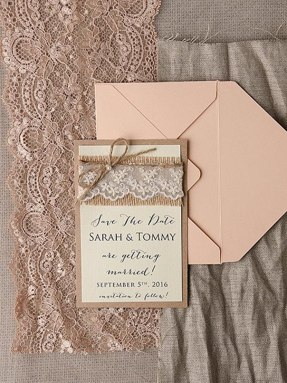 Wedding - Save The Date Cards (20), Rustic Lace Save the Date, Burlap Save the Date, Peach Save the Date, Wedding Save the Date, Model no: 14/rus/std