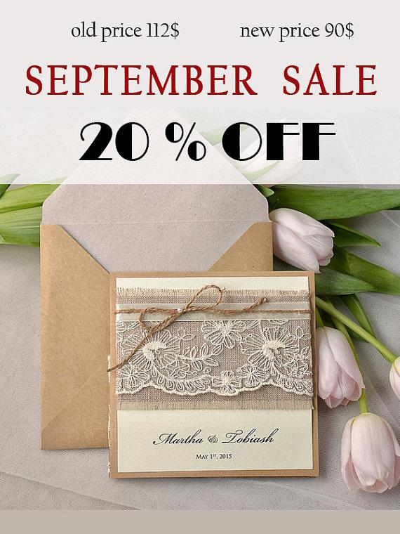 Wedding - SALE ! Rustic Wedding Invitation, Lace Wedding Invites, Pocket Fold  Invitations , Twine Wedding invitation, Rustic Wedding Invitation,
