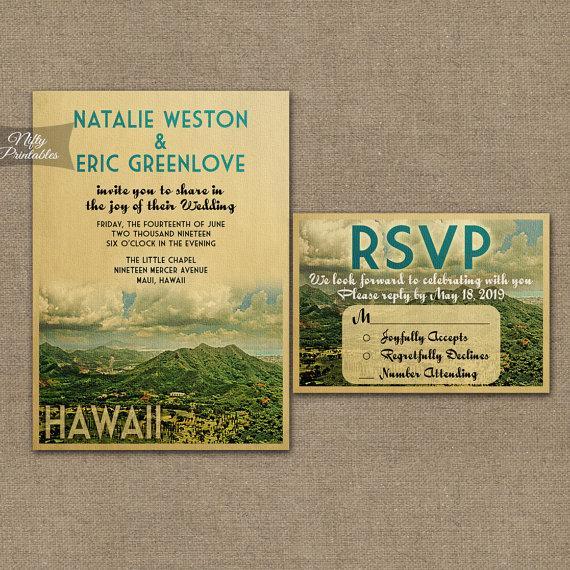hawaii wedding invitation - printable vintage hawaiian wedding, Wedding invitations