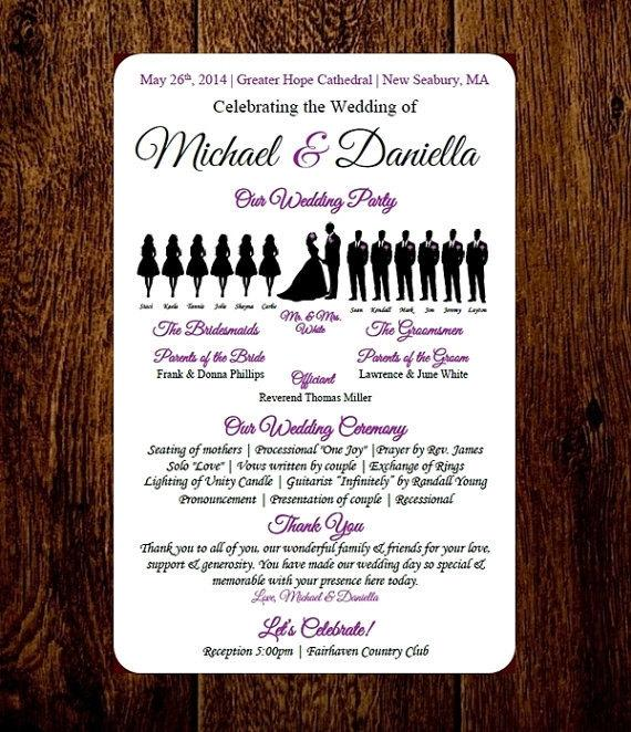 Diy Wedding Program Template Choose Number Of Silhouettes Short