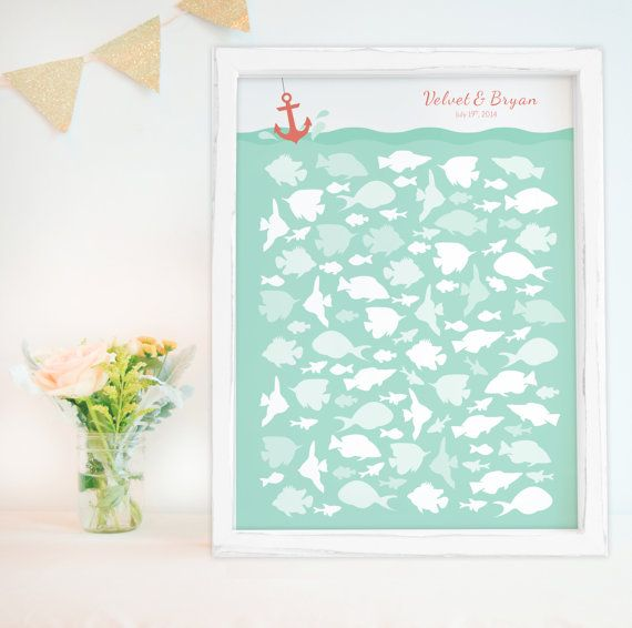 Nautical Wedding Guest Book Alternative With Fish In Ocean For Beach ...