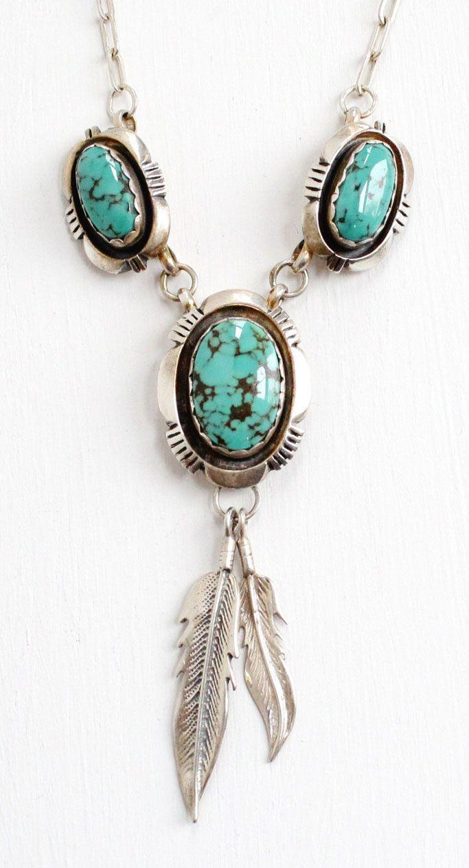 Vintage Sterling Silver Turquoise Blue Stone & Leaf Motif Necklace ...