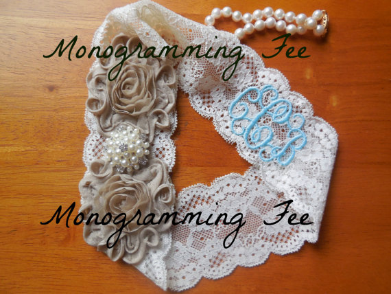 Свадьба - Monogrammed Garter, Monogram, Wedding Initials, Wedding Monogram, Personalized Garter, Garter, Wedding Garter, Something Blue, Aqua Garter