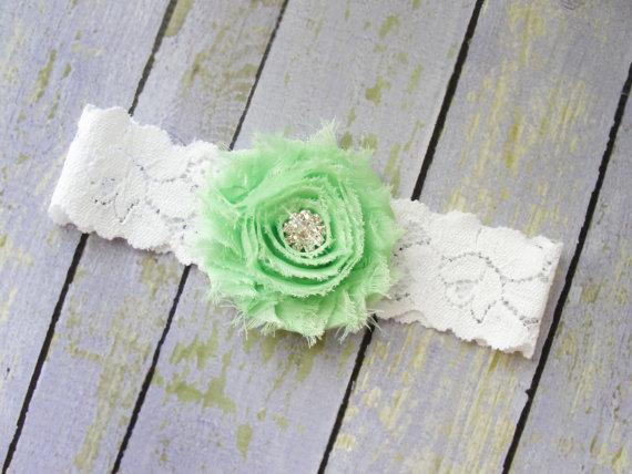 Свадьба - Garter, Bridal Garter, Wedding Garter, Toss Keepsake, Mint Single Garter, Green Wedding