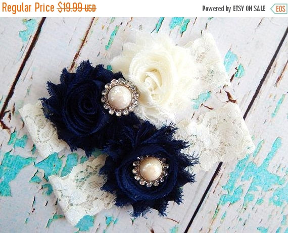ON SALE NAVY Blue Garter Set Wedding Bridal Lace Toss Something Vintage Keepsake Gart