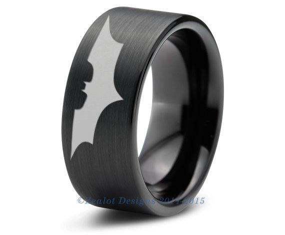 Batman Tungsten Wedding Band Ring Mens Womens Brushed Pipe Cut Black