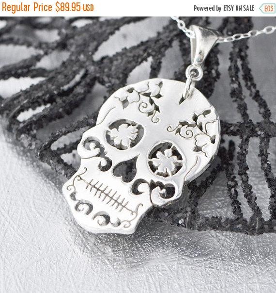 18c090952 Sterling Silver Sugar Skull Pendant, Sugar Skull Jewelry, Sugar Skull  Necklace, Halloween Jewelry, Day of the Dead