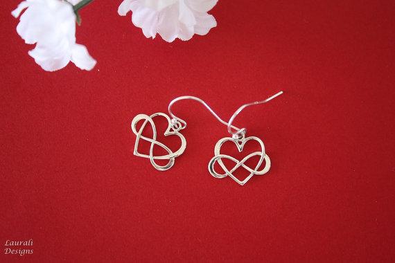 زفاف - Silver Infinity Earrings, BFF, Infinite Friendship, Sterling Silver, heart shape, couples, Thank you card