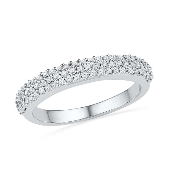 Wedding - Triple Row Womens Diamond Wedding Band with 2/5 CT. T.W. in White Gold or Sterling Silver