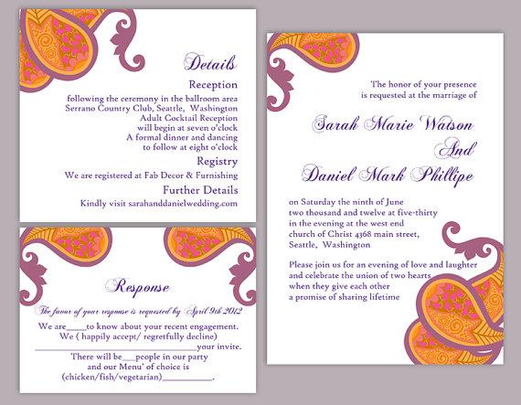 زفاف - DIY Bollywood Wedding Invitation Template Set Editable Word File Download Orange Wedding Invitation Indian invitation Bollywood party