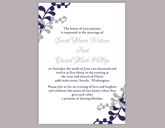 Diy wedding invitation template editable word file instant diy wedding invitation template editable word file instant download printable invitation silver gray wedding invitation navy blue invitation pronofoot35fo Gallery