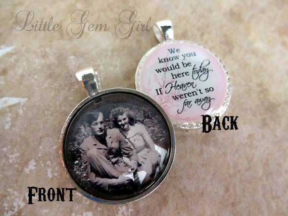 Hochzeit - Wedding Bouquet Photo Memorial Charm - Double Sided Pendant - Custom Picture Wedding Charm - Heaven Poem on Back - In Memory